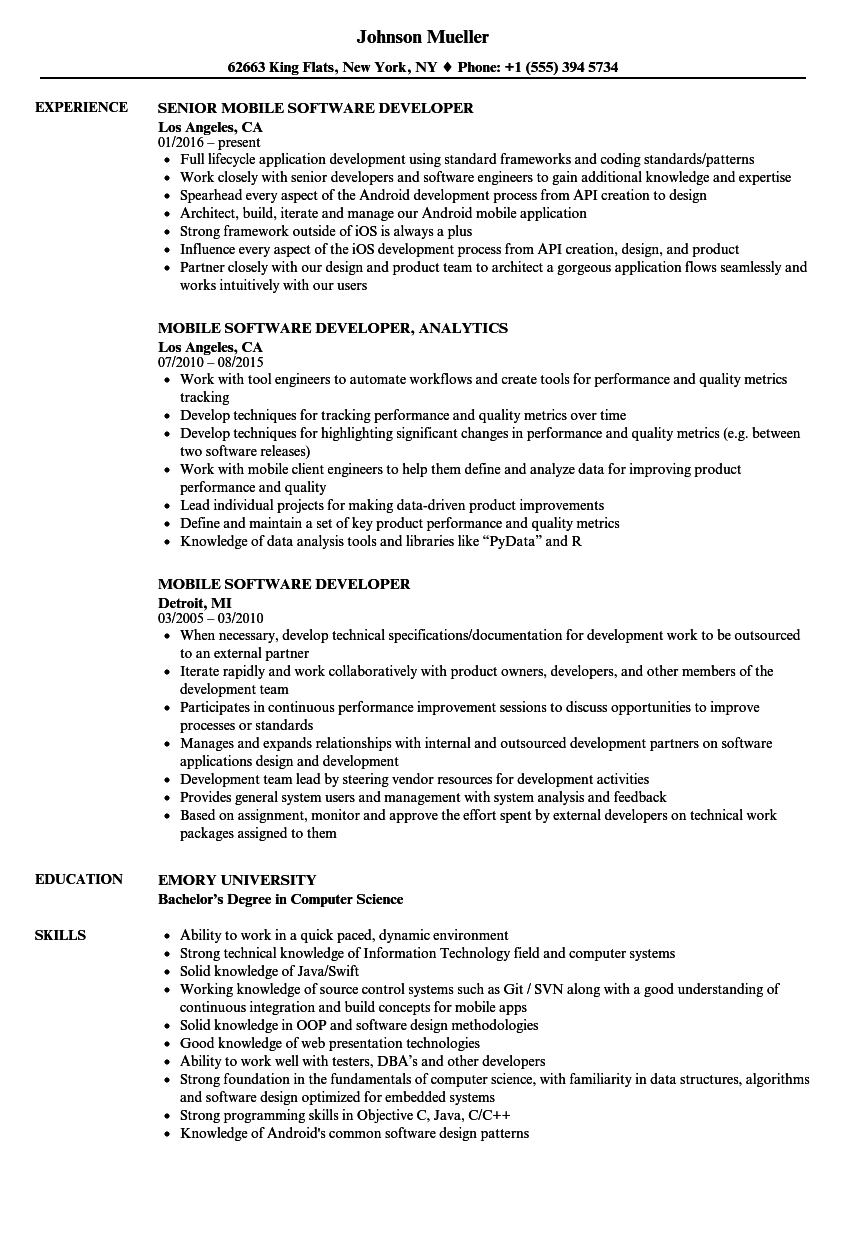 Mobile Software Developer Resume Samples Velvet Jobs