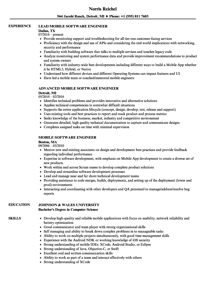 download mobile software engineer resume sample as image file - Sample Software Engineer Resume