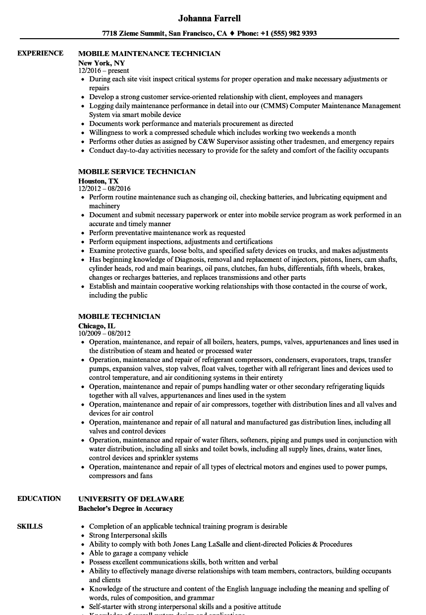mobile technician resume samples