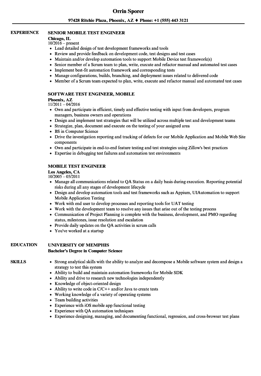 Mobile Test Engineer Resume Samples Velvet Jobs