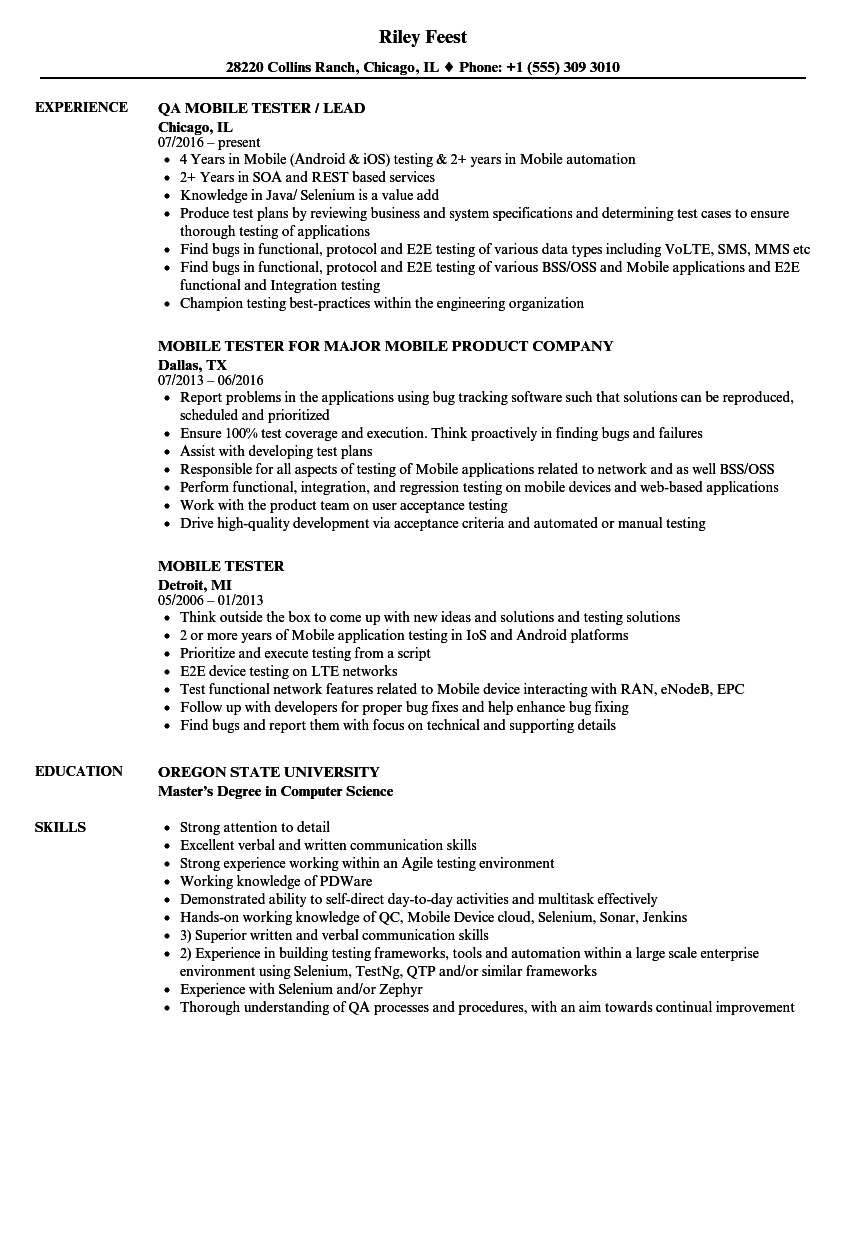 Mobile Tester Resume Samples Velvet Jobs