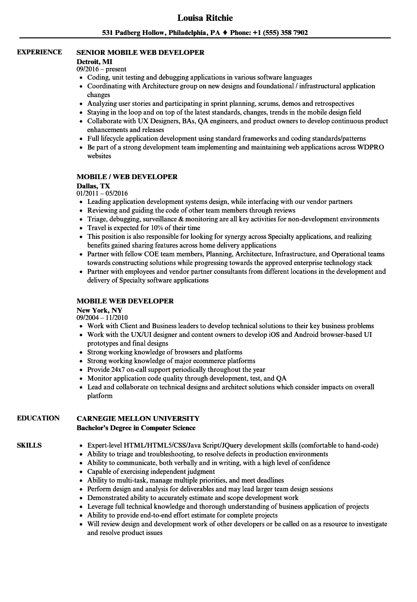 mobile web developer resume samples