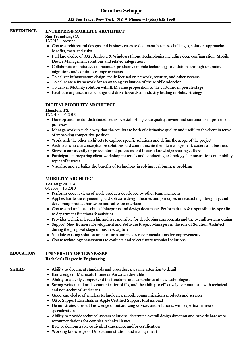 Mobility Architect Resume Samples   Velvet Jobs