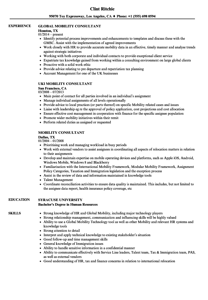 mobility consultant resume samples