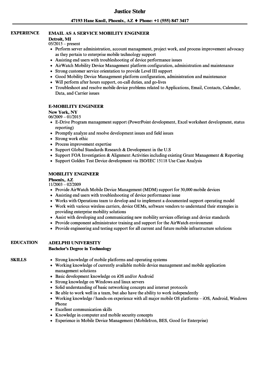 mobility engineer resume samples