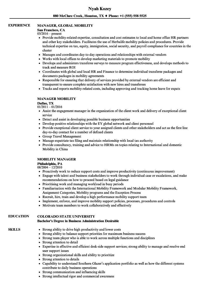 Mobility Manager Resume Samples Velvet Jobs