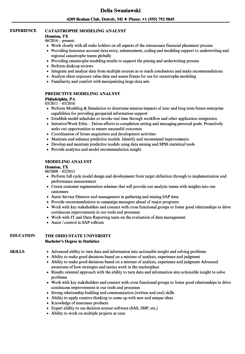 modeling analyst resume samples