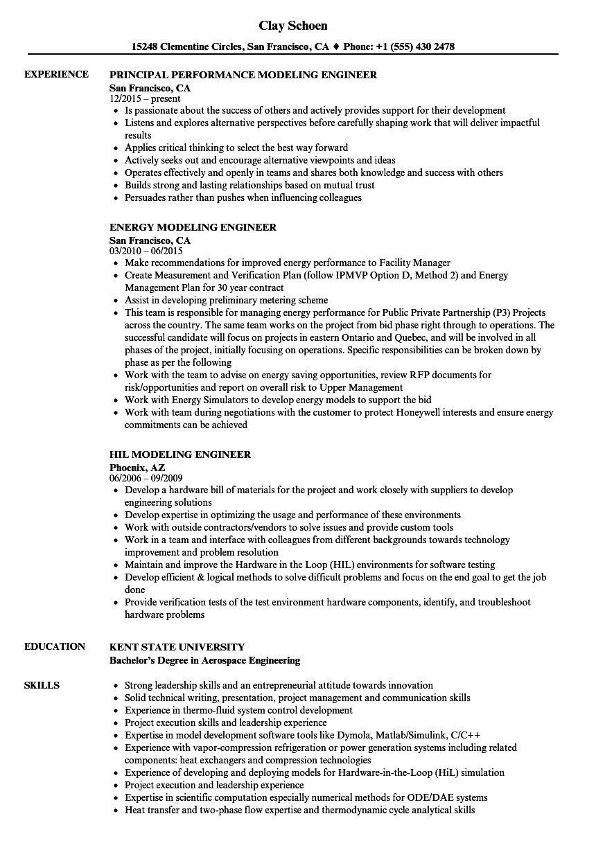 modeling engineer resume samples