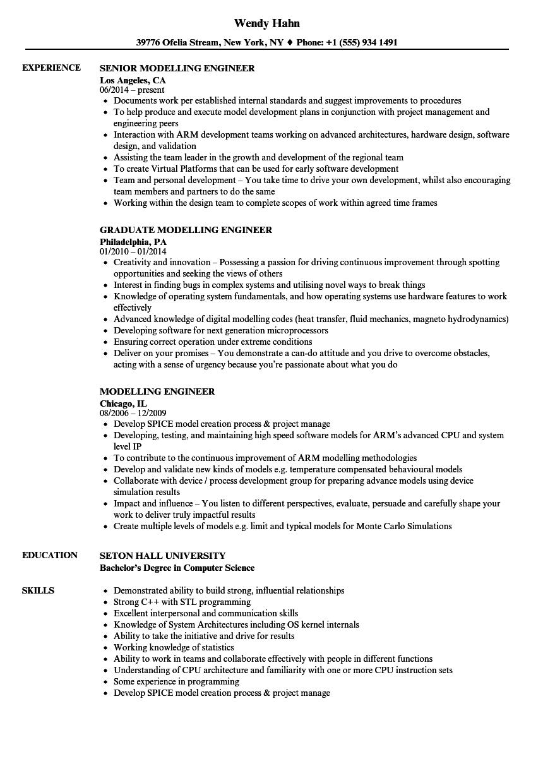 Modelling Engineer Resume Samples | Velvet Jobs