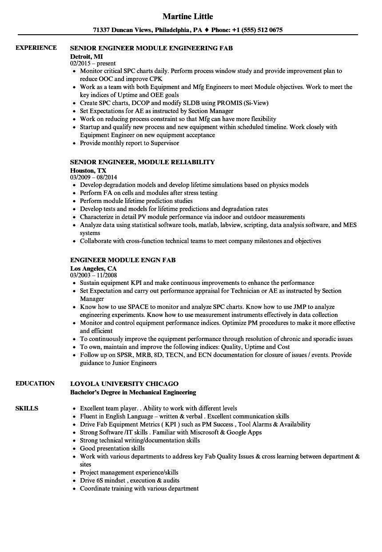 module engineer resume samples velvet jobs