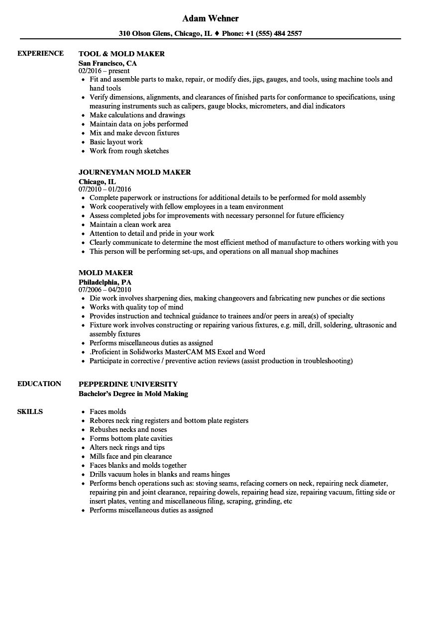Mold Maker Resume Samples | Velvet Jobs