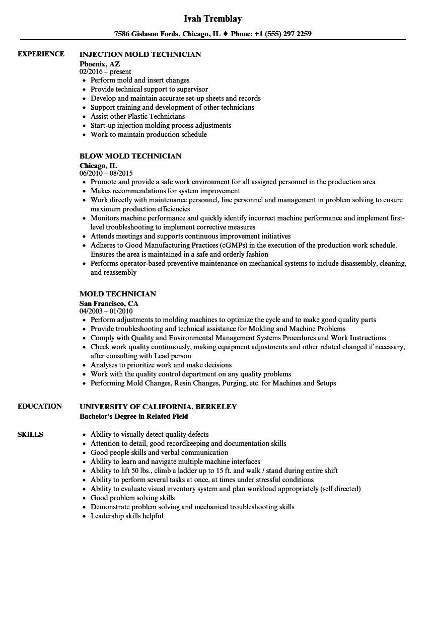 Mold Technician Resume Samples | Velvet Jobs