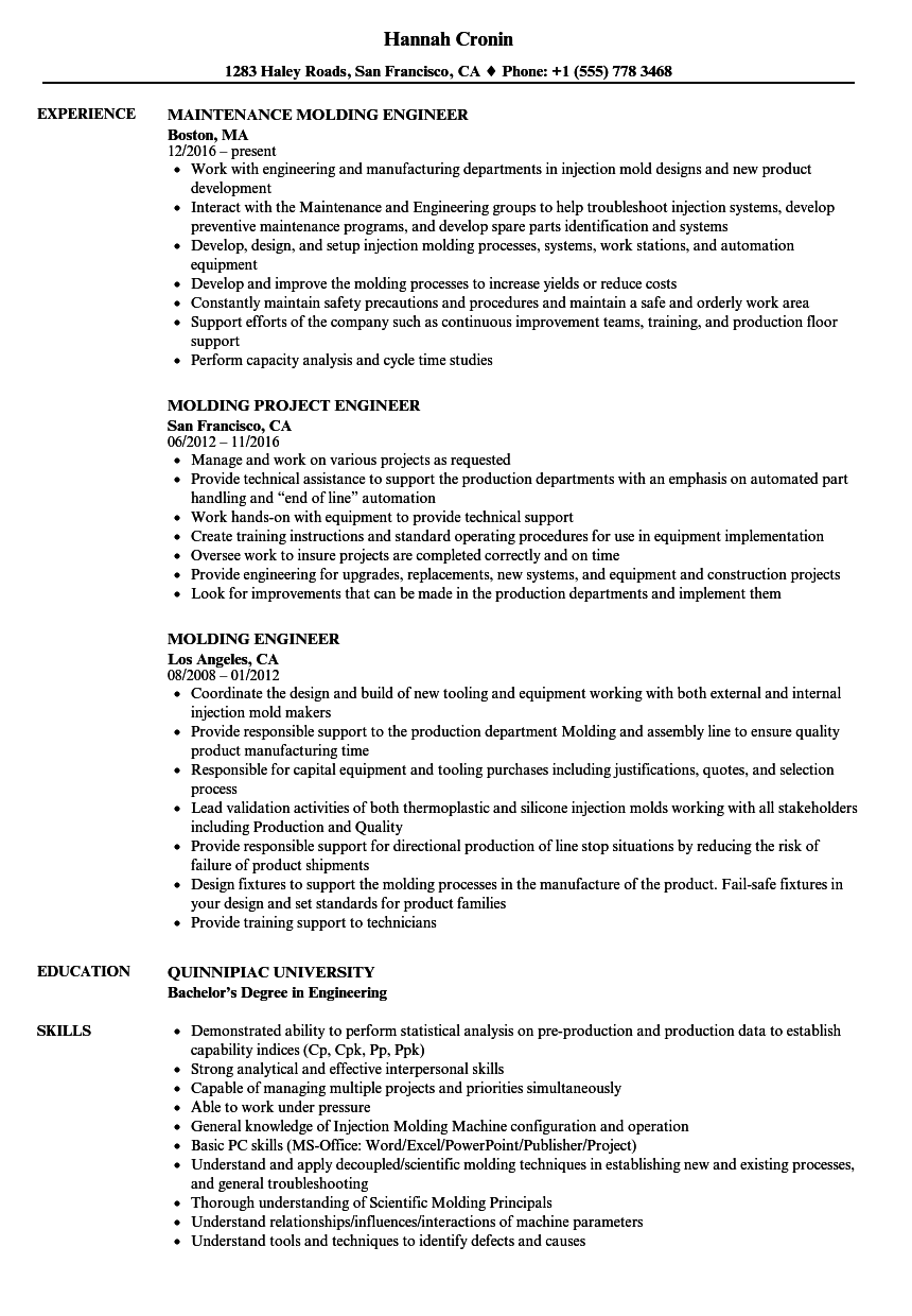 Molding Engineer Resume Samples | Velvet Jobs