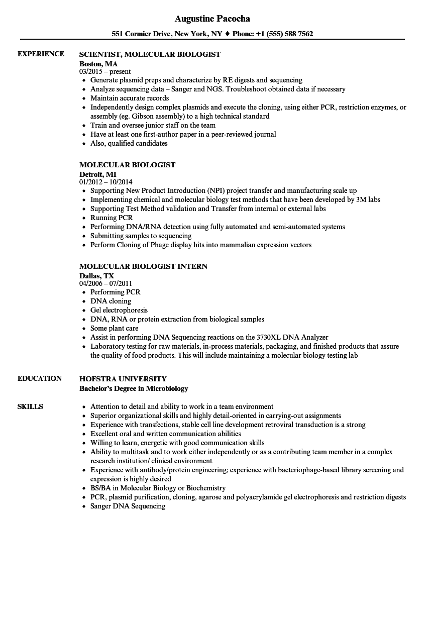 Molecular Biologist Resume Samples | Velvet Jobs