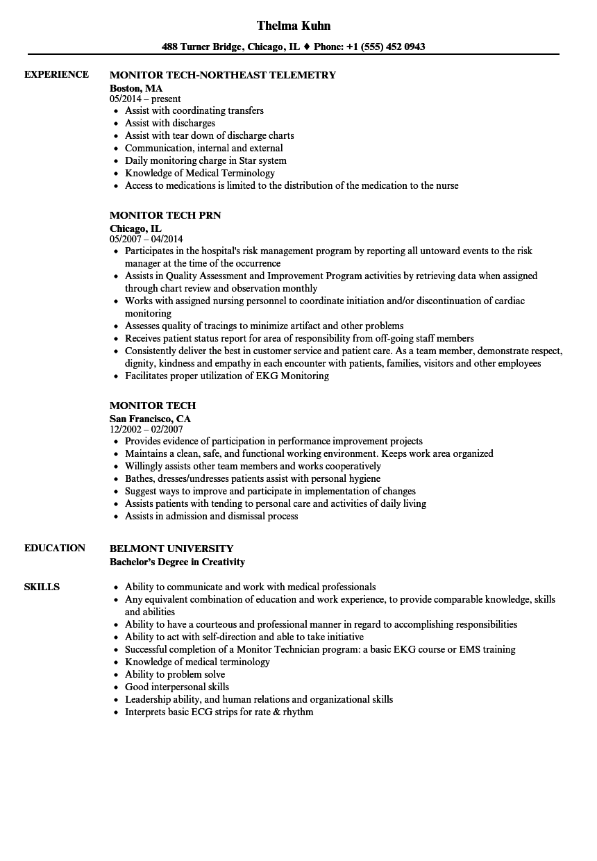monitor tech resume samples