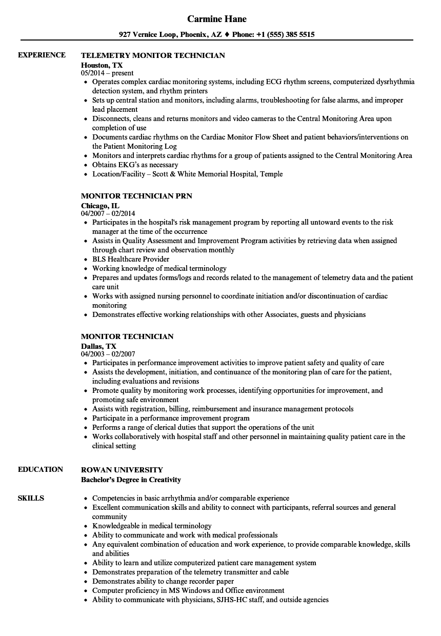 Monitor Technician Resume Samples | Velvet Jobs