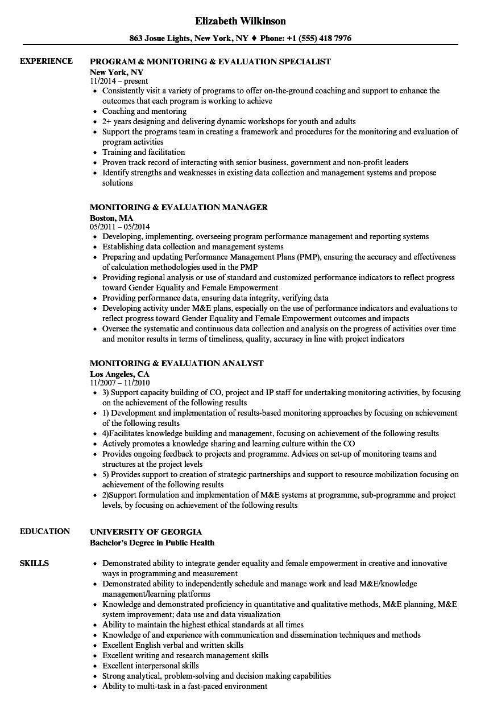monitoring  u0026 evaluation resume samples