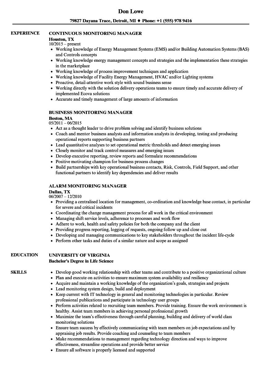 Monitoring Manager Resume Samples Velvet Jobs