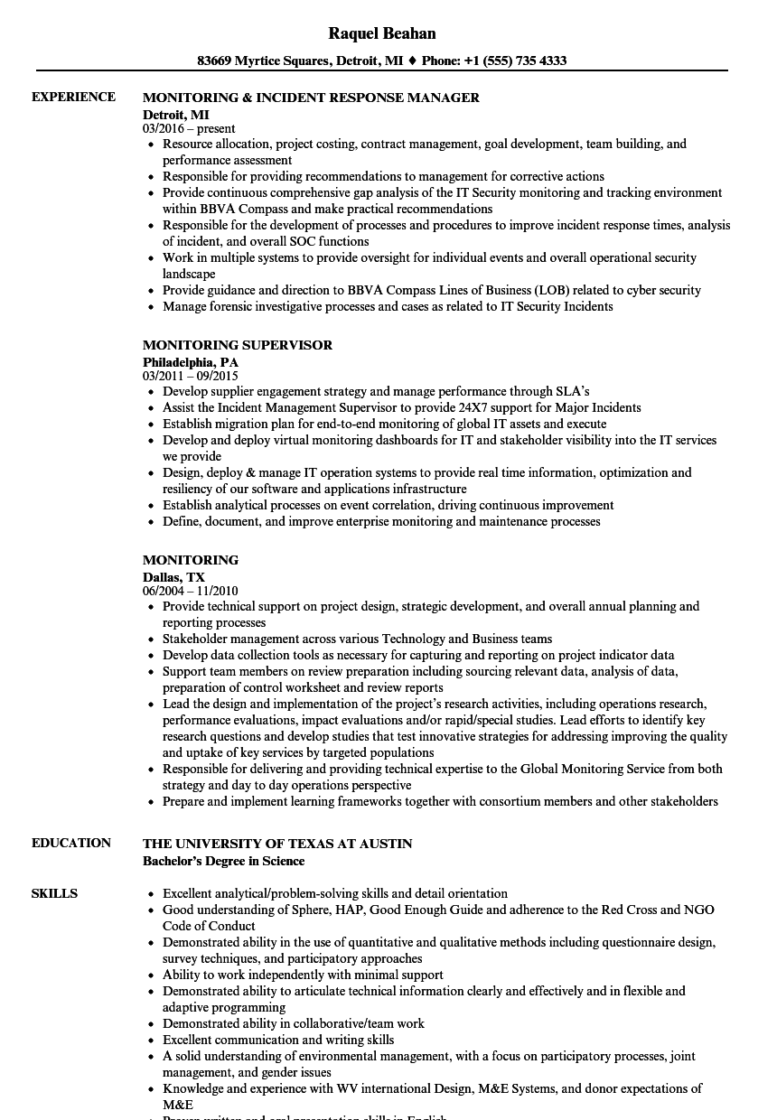 Monitoring Resume Samples Velvet Jobs