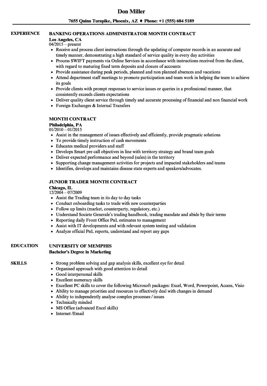 Month Contract Resume Samples | Velvet Jobs