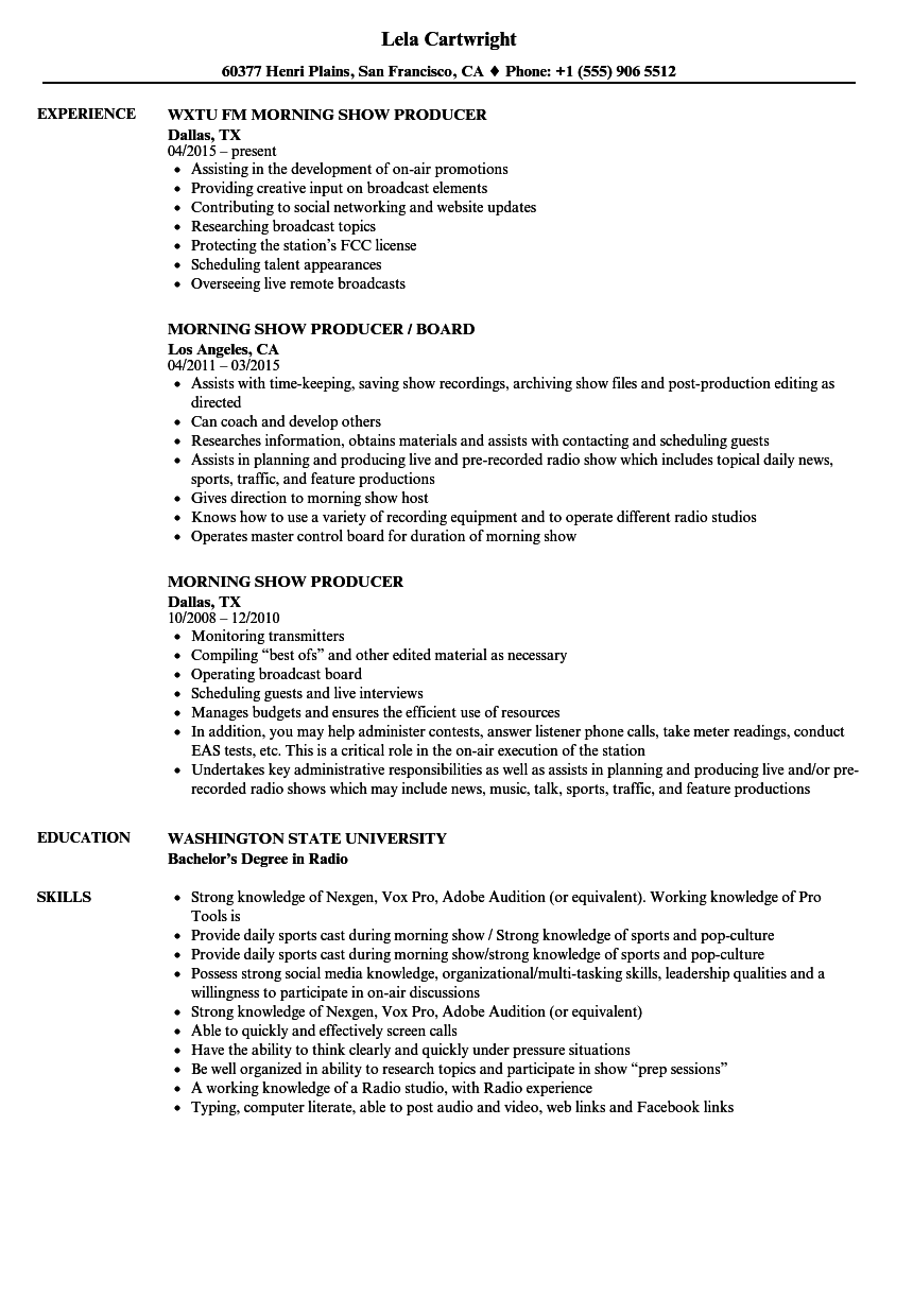 Morning Show Producer Resume Samples Velvet Jobs