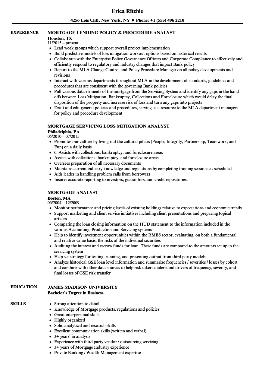 mortgage analyst resume samples