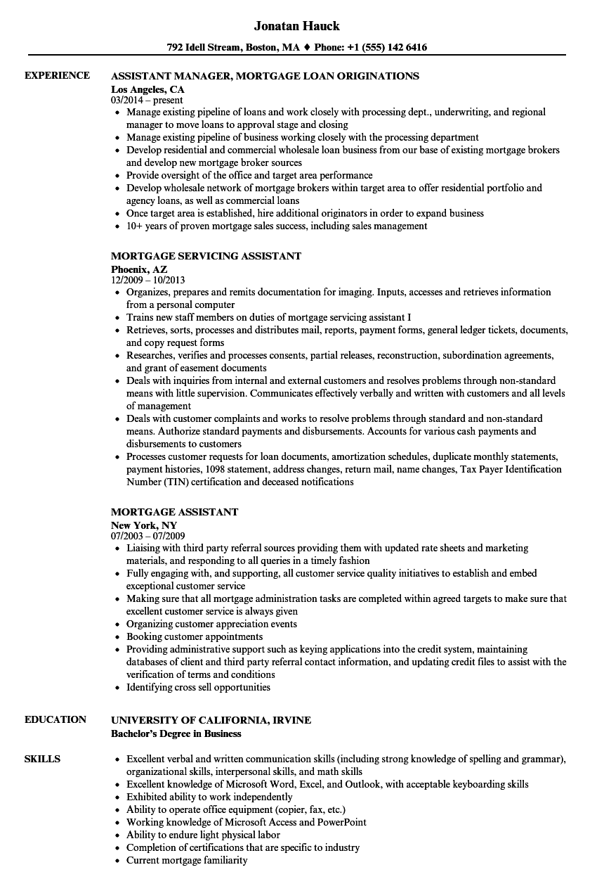 mortgage assistant resume samples