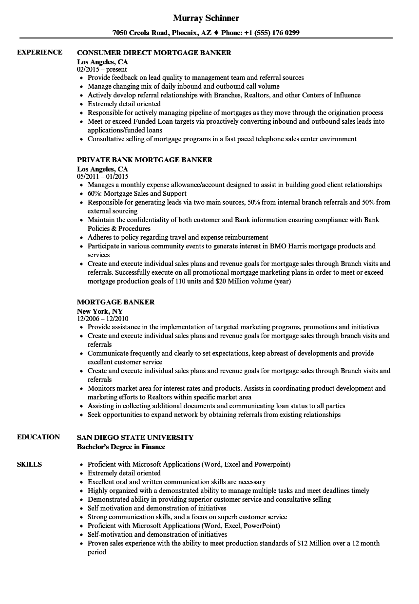 Download Mortgage Banker Resume Sample As Image File