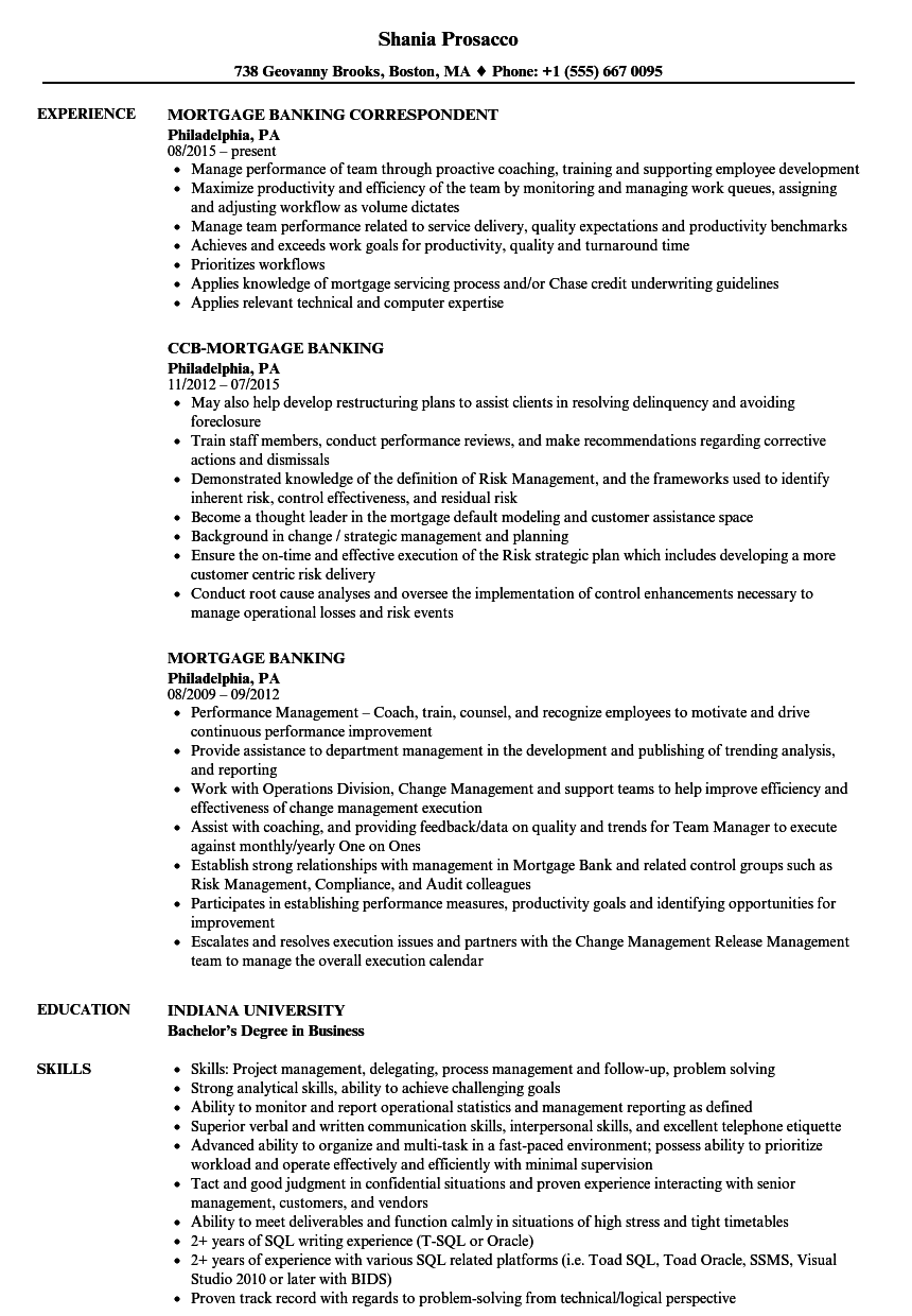 Download Mortgage Banking Resume Sample As Image File