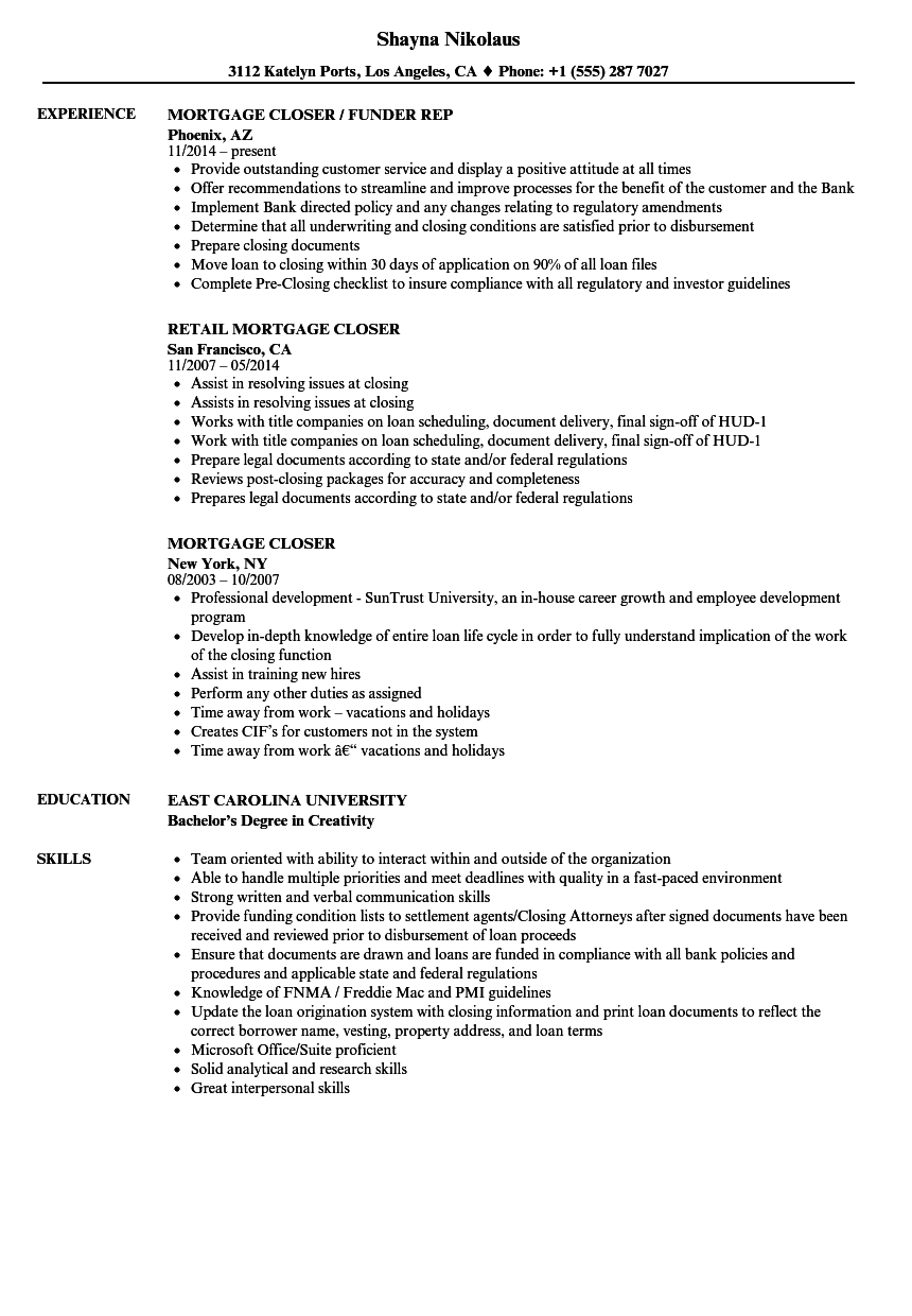 mortgage closer resume samples