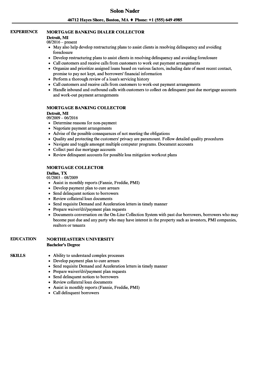 download mortgage collector resume sample as image file