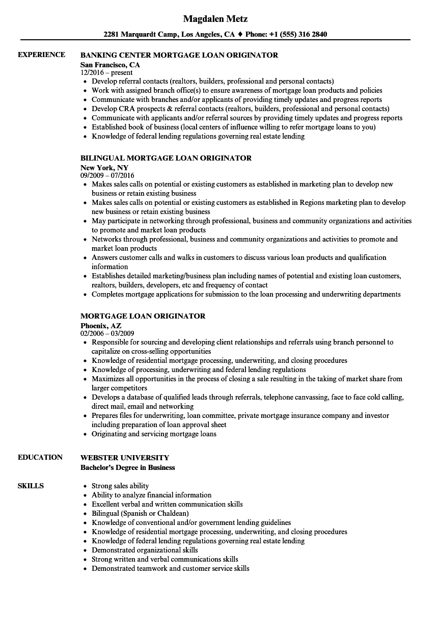 Download Mortgage Loan Originator Resume Sample As Image File