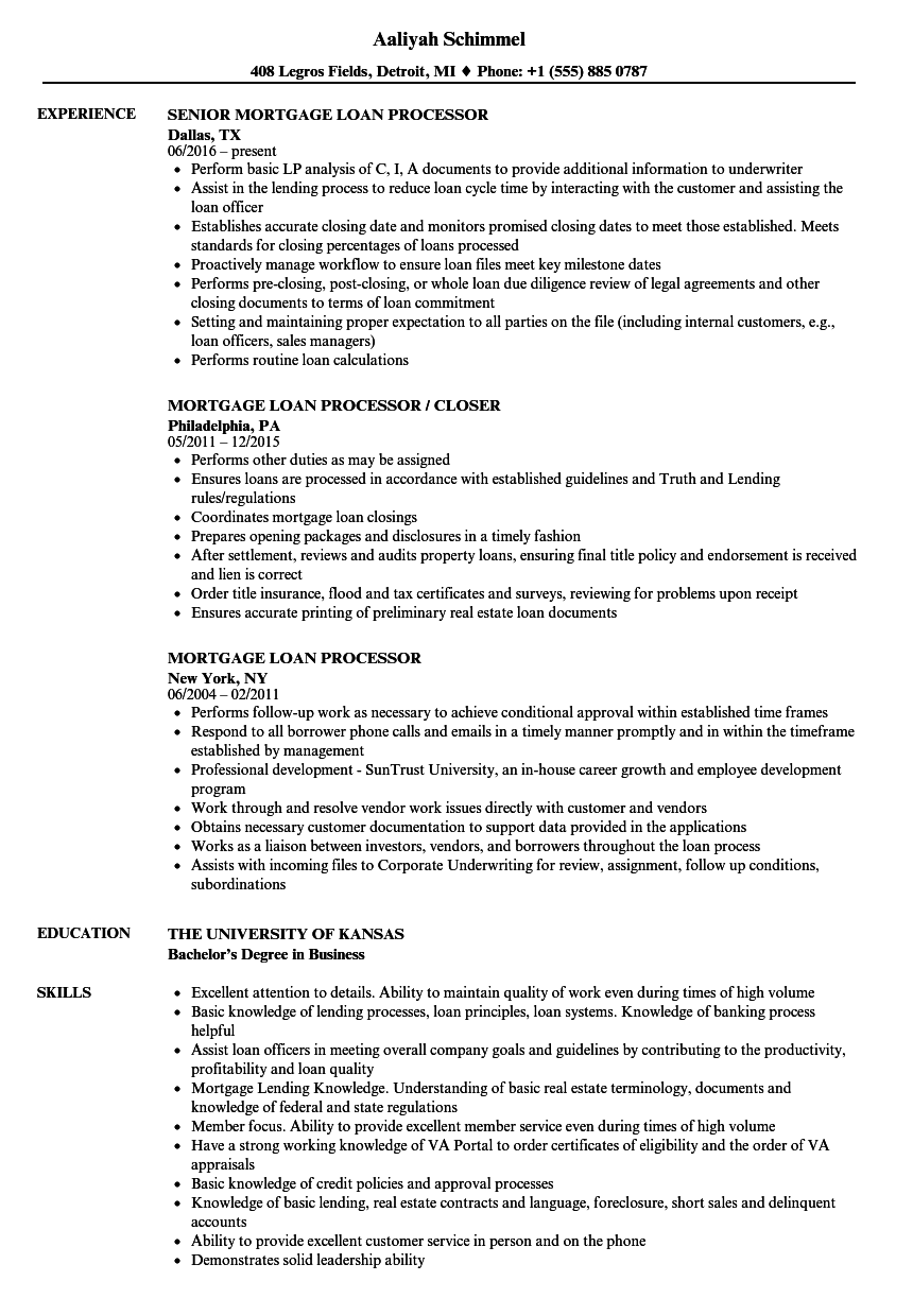 mortgage loan processor resume samples