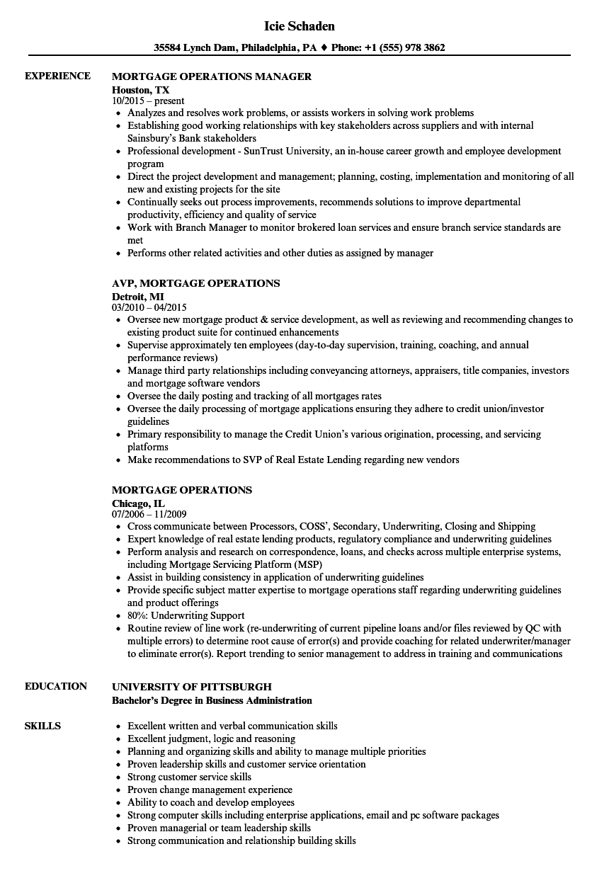 download mortgage operations resume sample as image file - Mortgage Resume Samples