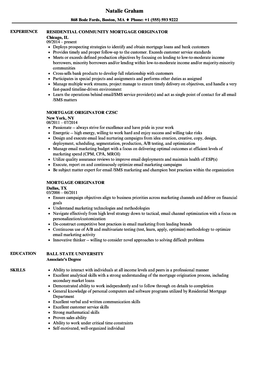 Download Mortgage Originator Resume Sample As Image File