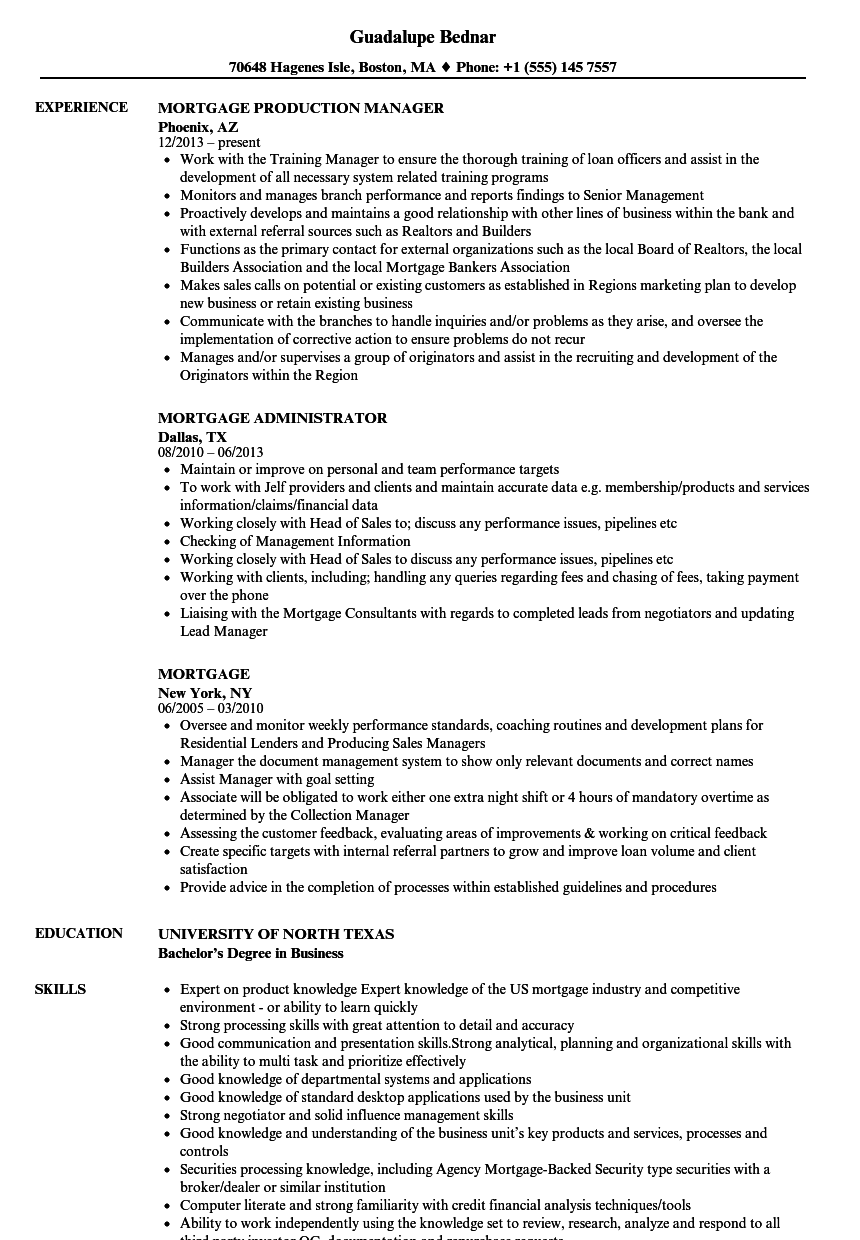 mortgage resume samples