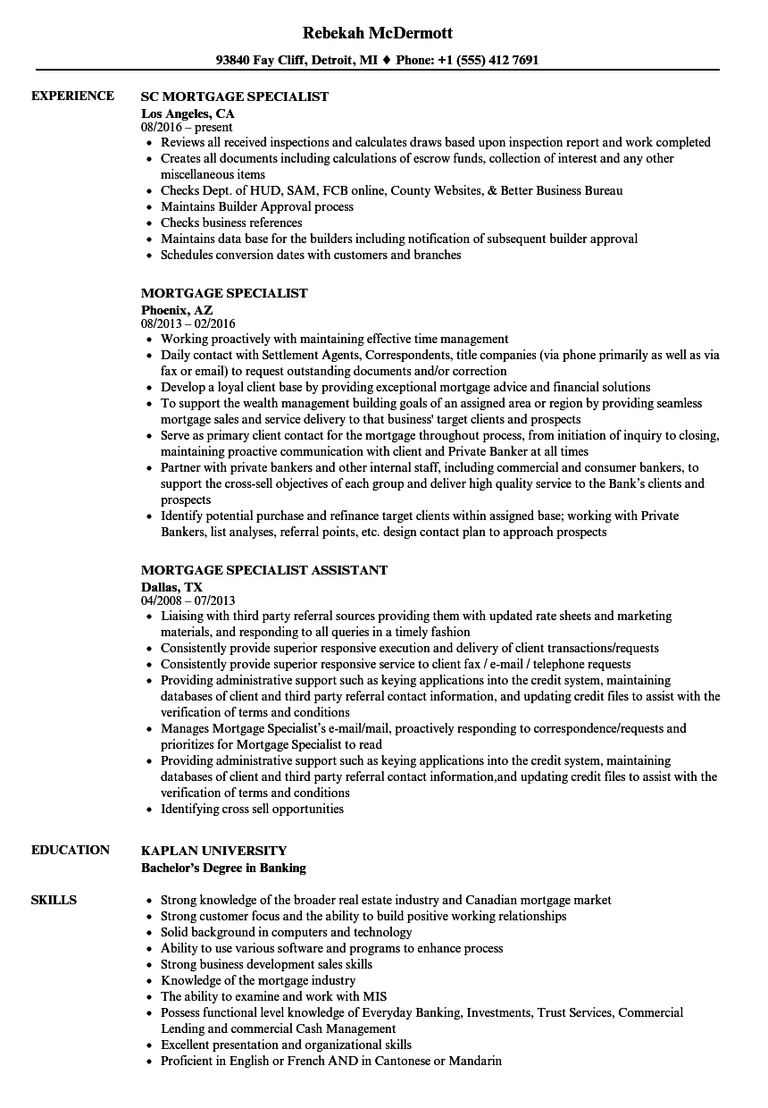 Download Mortgage Specialist Resume Sample As Image File