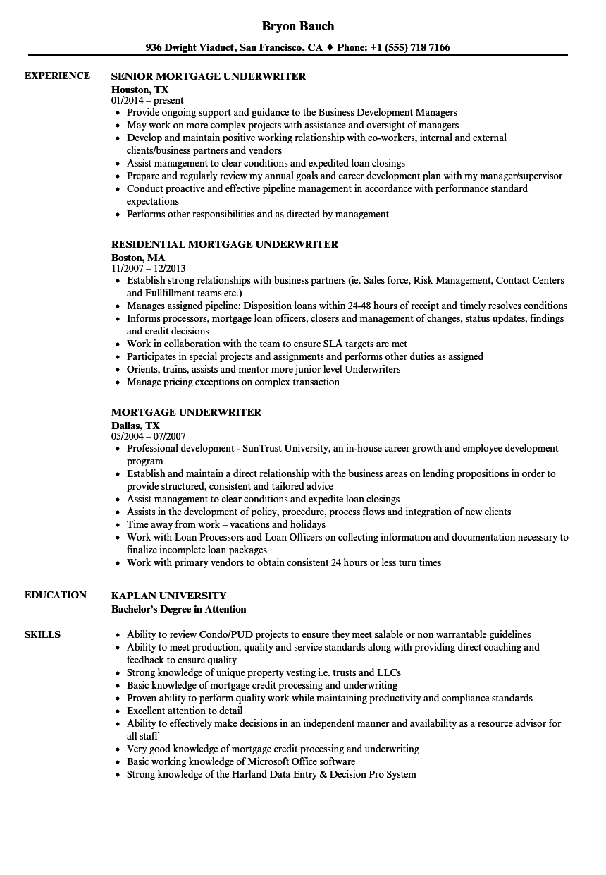 Mortgage Underwriter Resume Samples