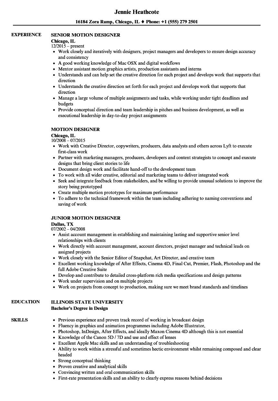 Motion Designer Resume Samples | Velvet Jobs