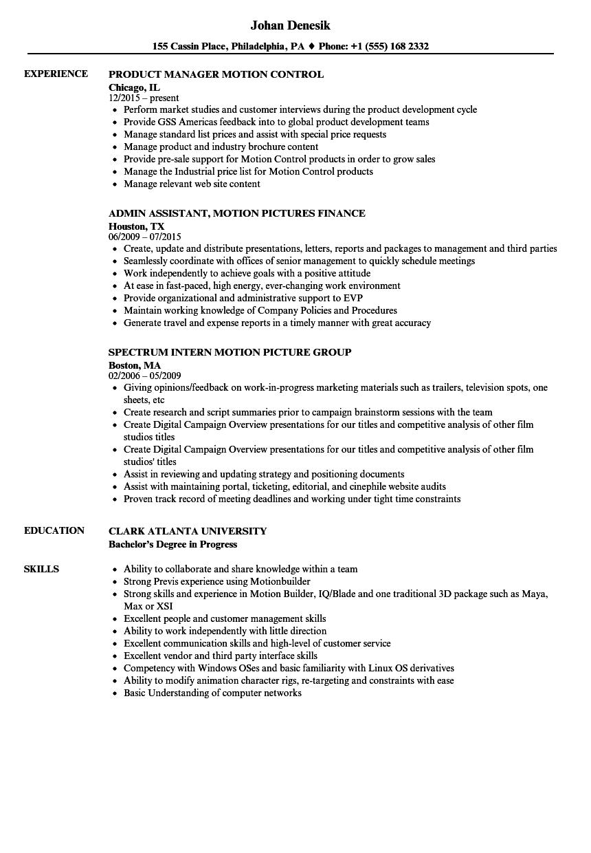 Motion Resume Samples Velvet Jobs