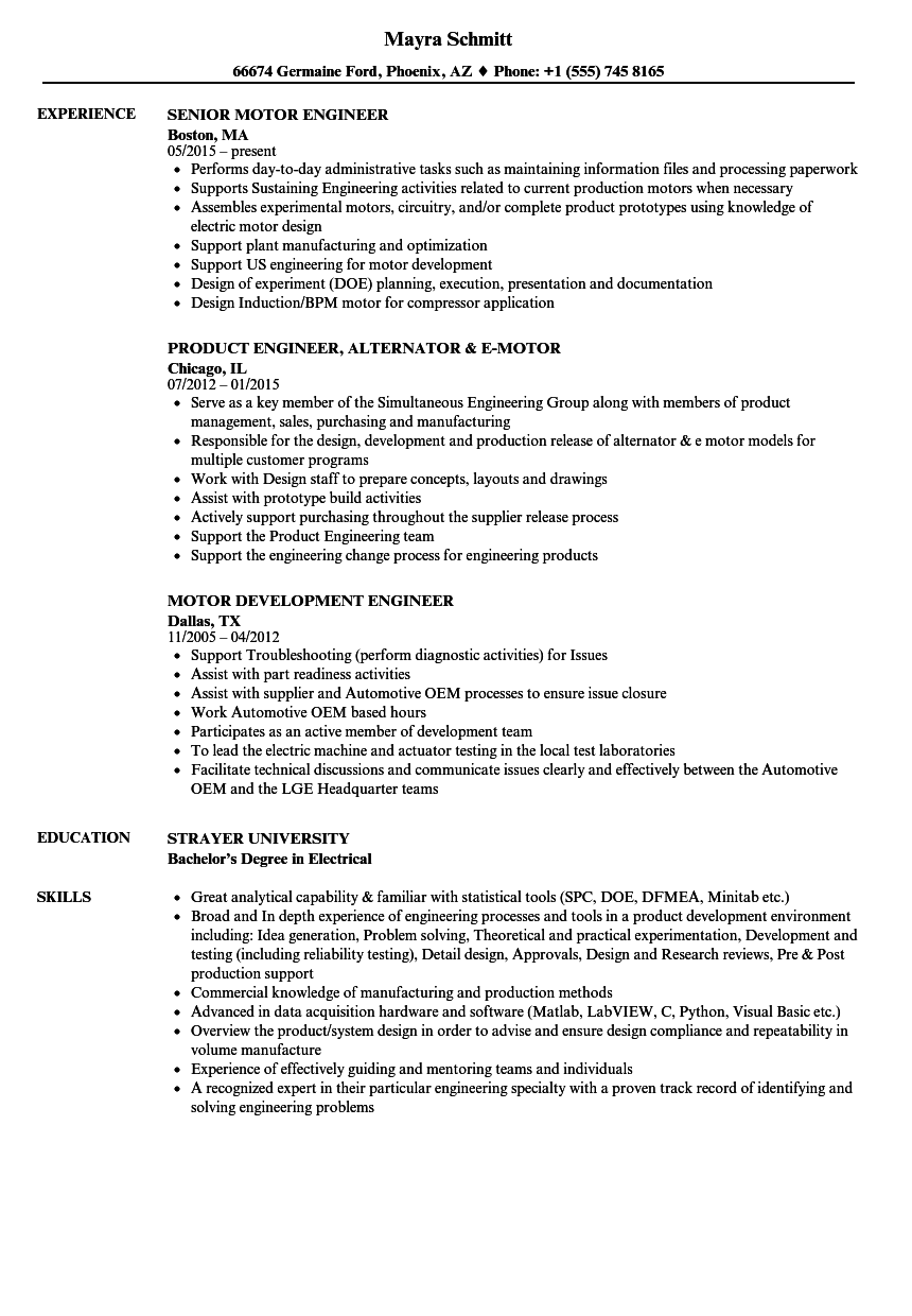 Motor Engineer Resume Samples | Velvet Jobs