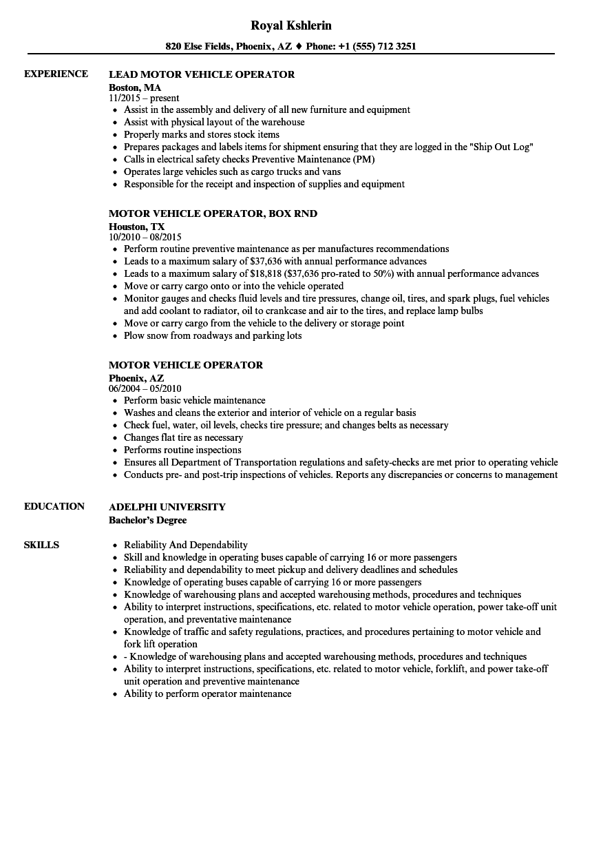 motor vehicle operator resume samples