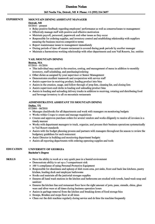 mountain dining resume samples