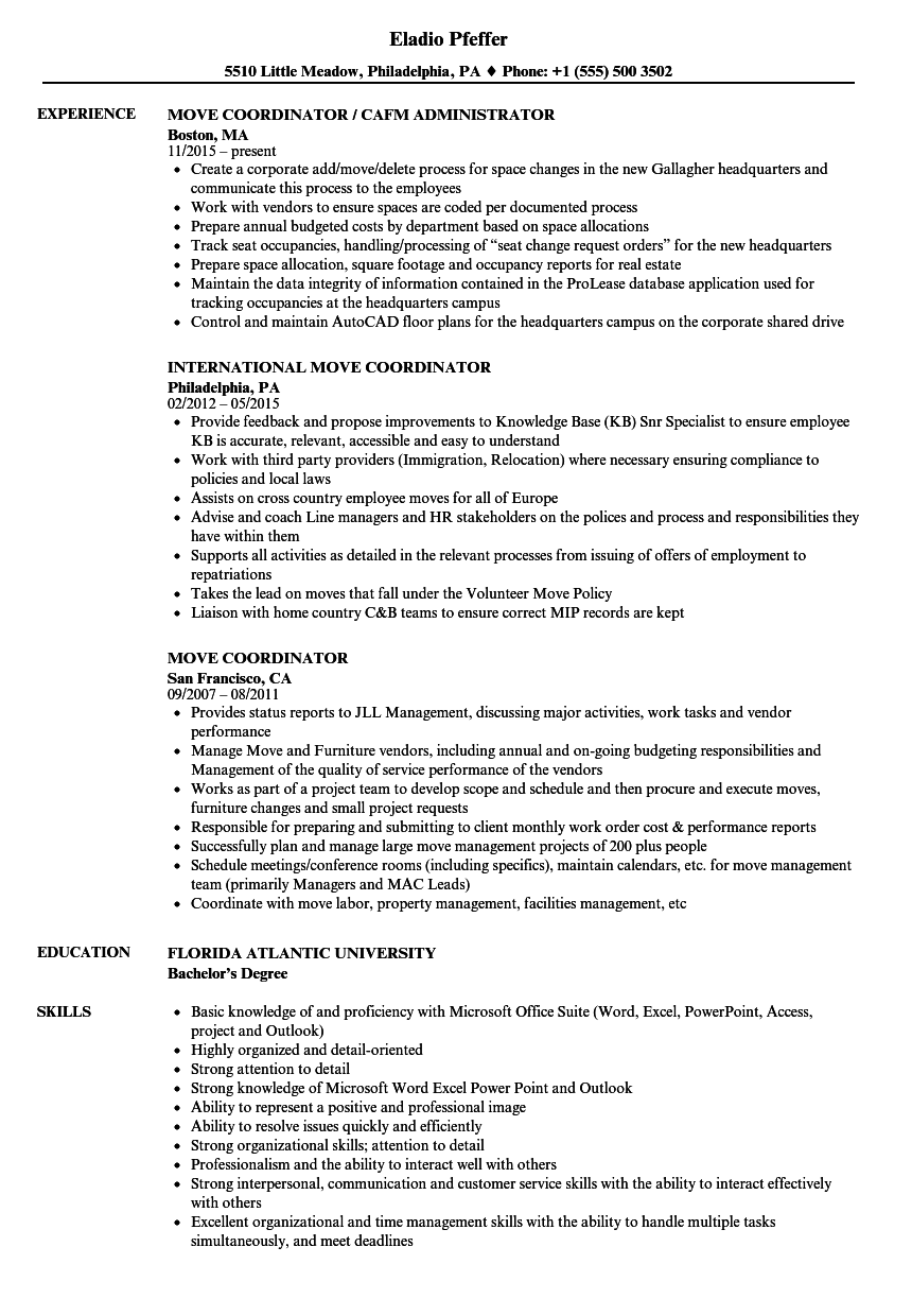 move coordinator resume samples