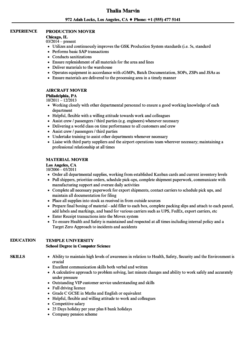 Mover Resume Samples Velvet Jobs