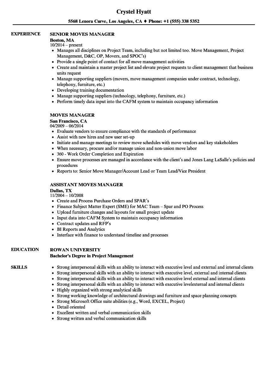 Moves Manager Resume Samples | Velvet Jobs