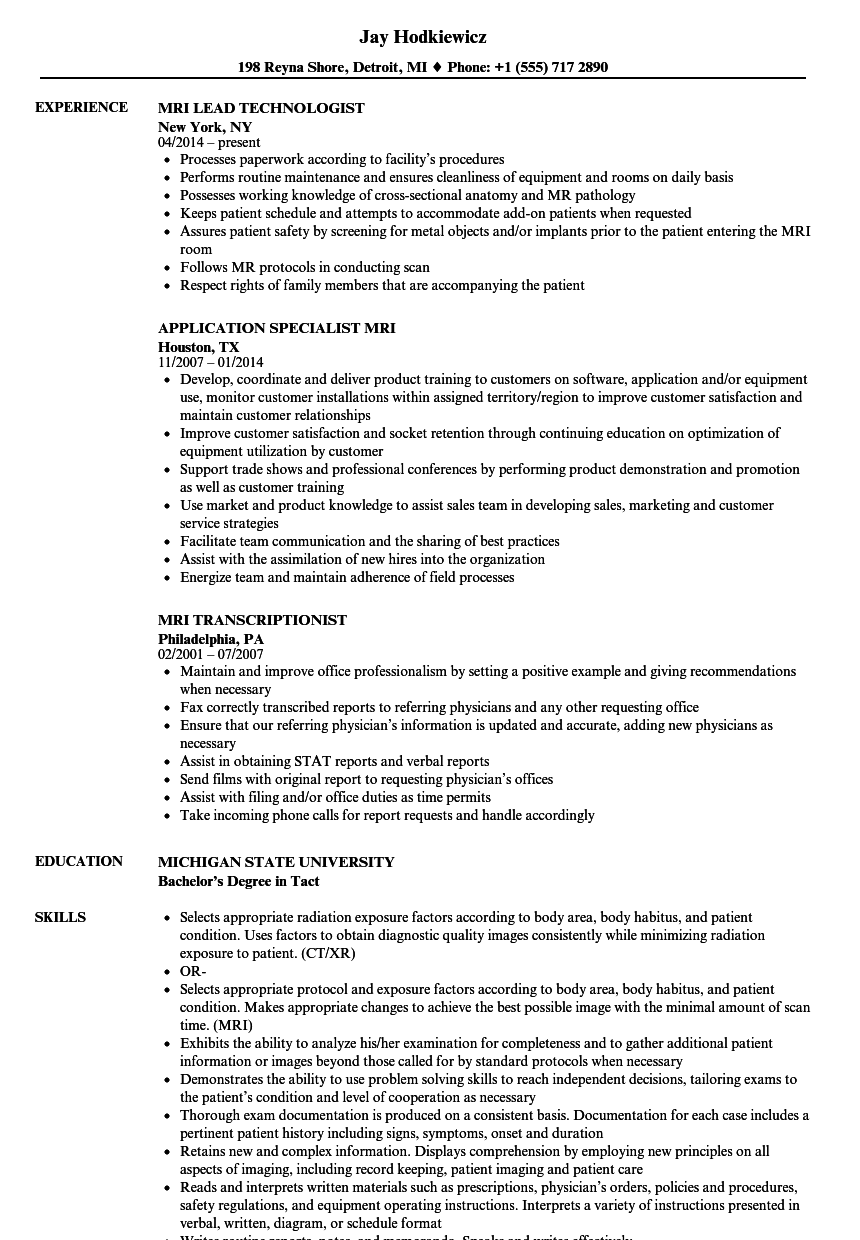 mri Resume Samples   Velvet Jobs