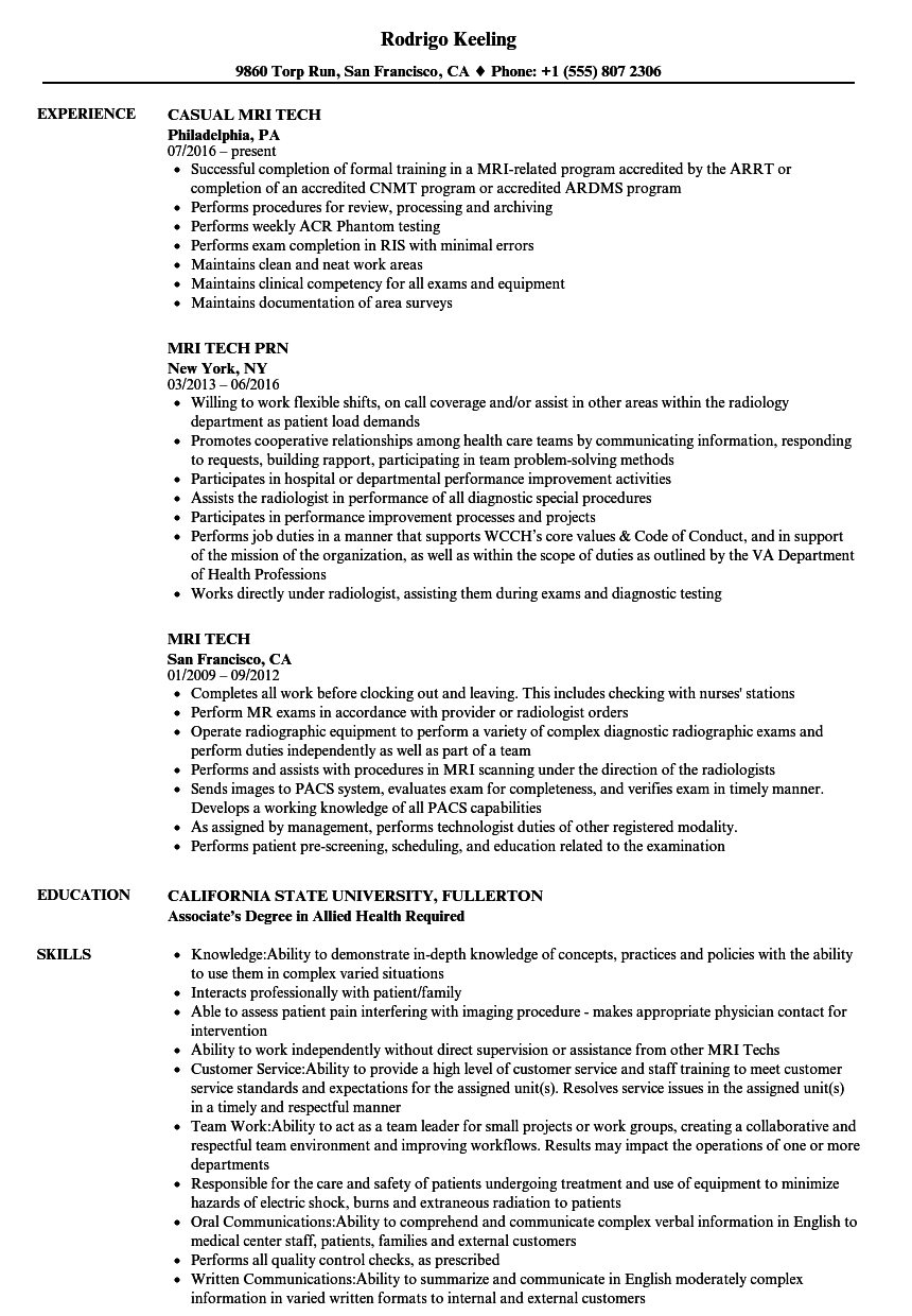 mri tech resume samples