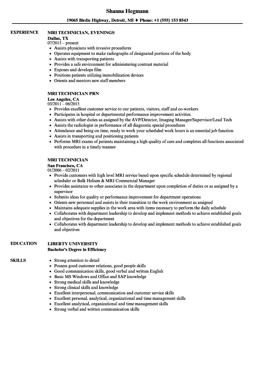 mri technician resume samples
