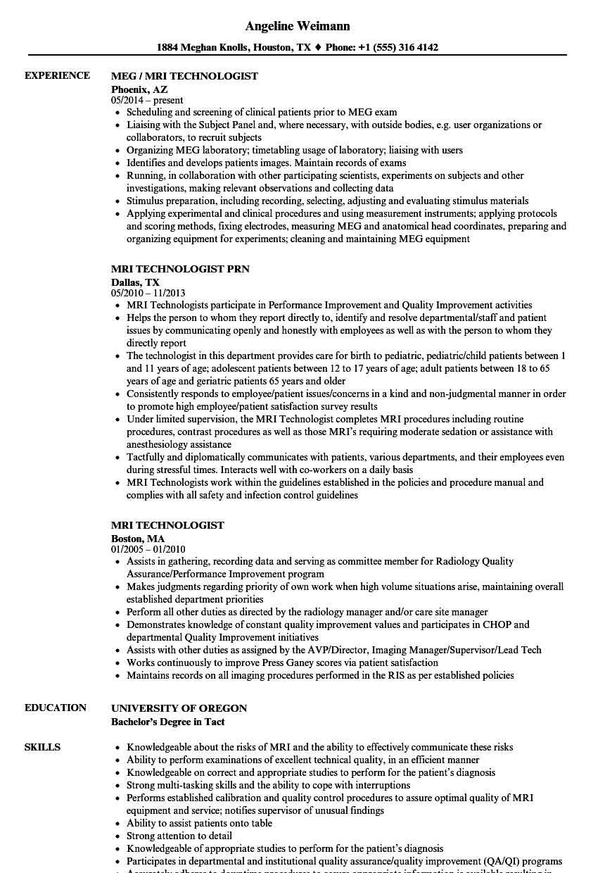 mri technologist resume samples